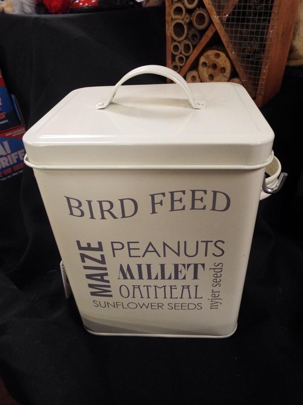 57 Bird feed Tin at Kershaw's Garden Centre